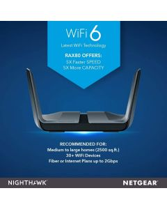 NETGEAR Nighthawk (RAX80) AX8 8-Stream WiFi 6 Router - AX6000 Wireless Speed (up to 6Gbps) | Coverage for Large Homes | 5 x 1G and 1x 2G Ethernet ports | 2 x 3.0 USB