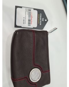 CELINE POUCH-BROWN LEATHER W/ITALIAN COIN