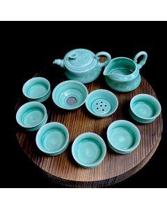 CELADON GREEN TEA POT SET-9PCS/RD