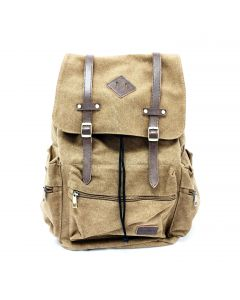Modoker Brown  Canvas and Leather Travel Backpack with USB Port