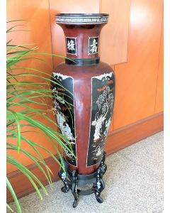 Wooden Lacquer Vase Inlaid Mother of Pearl