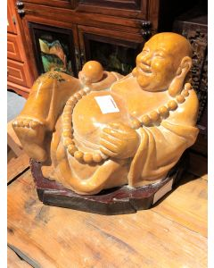 Laughing Buddha  Wooden Base