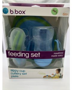 b.box Toddler Feeding Set | Color: Ocean Breeze | Includes: Sippy Cup, Cutlery Set and Divided Plate | 6 Months + (Torn Box)