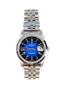 ROLEX 15200 Oyster Perpetual Date Men's Watch with Vignette Blue Dial in Stainless Steel