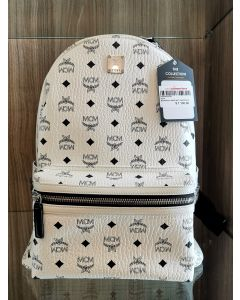 BACKPACK-LARGE WHT VISETOS STARK WITH SIL STUDS