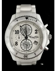 WATCH-CHRONO/MEN/WHT CERAMIC/RD/SIL BRACELET