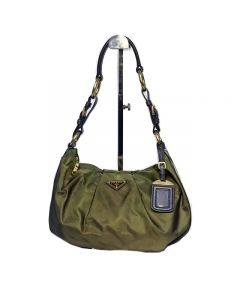 Prada Green Nylon Shoulder Bag