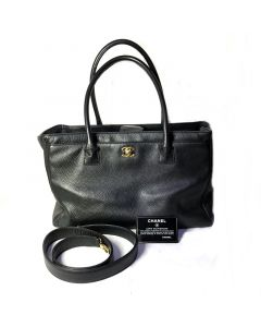 CHANEL Pre-loved Vintage Chanel Black Caviar Leather Executive Cerf Tote Bag