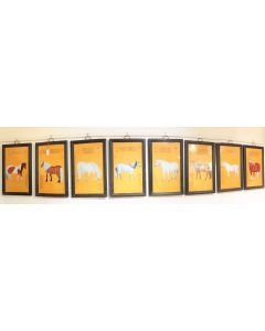 Vintage Painting of 8Pcs of Horse Panel Display