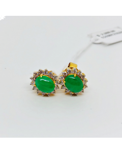 Jade Earring with Diamond
