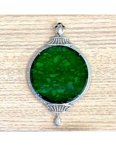 Natural Jade A Pendant with Diamonds