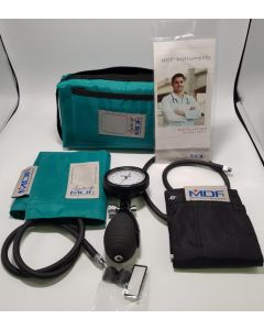 MDF Bravata Palm Aneroid Sphygmomanometer - Blood Pressure Monitor with Adult & Pediatric Sized Cuffs - Teal (MDF848XPD-16)