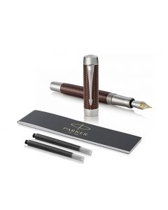 Parker Duofold Prestige Burgundy Fountain Pen, Fine Nib, Blue Ink [18-karat solid gold bi-tonal rhodium-plated fine nib ]