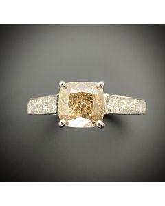 2.01 Carat Cushion Cut Diamond 18K White Gold Ring