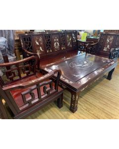 ROSEWOOD LIVING ROOM SOFA SET/MOTHER OF PEARL INLAY