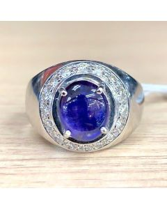 Star Blue Sapphire Ring with Diamonds