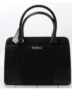 TOTE BAG-BLK CANVAS & LEATHER