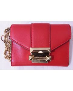 MICHAEL KORS CARD/COIN WALLET-RED LEATHER W/GOLD CHAIN