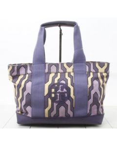 TORY BURCH TOTE BAG-PURPLE CANVAS